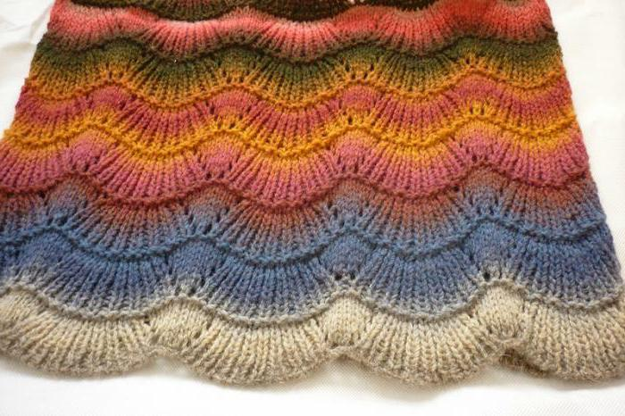 pattern wave with knitting needles